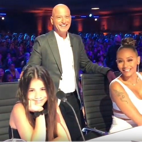 Ashleigh with Howie Mandel on America's Got Talent
